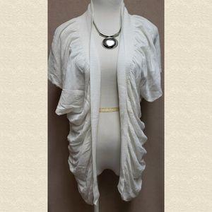 BCBG White Short Sleeve Cardigan